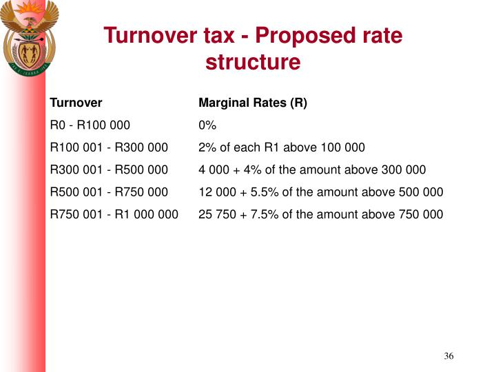 Turnover tax - Proposed rate structure