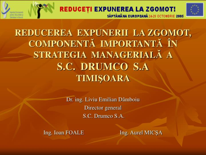 reducerea expunerii la zgomot component important n strategia managerial a s c drumco s a timi oara n.