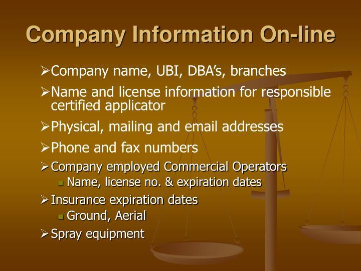 Company Information On-line