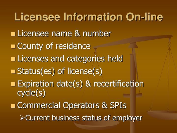 Licensee Information On-line
