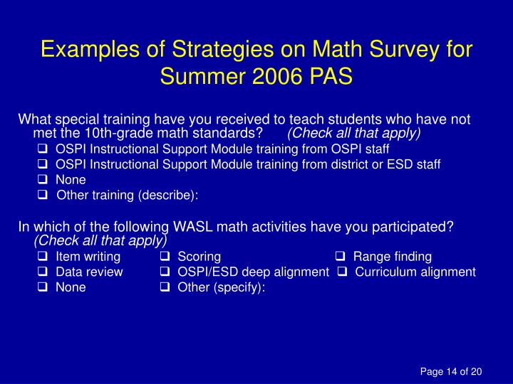 Examples of Strategies on Math Survey for Summer 2006 PAS