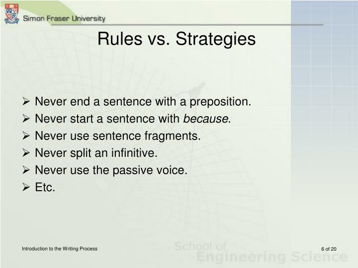 Rules vs. Strategies