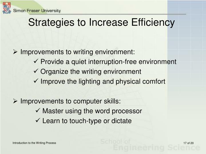 Strategies to Increase Efficiency