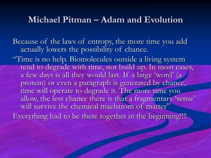 Michael Pitman – Adam and Evolution