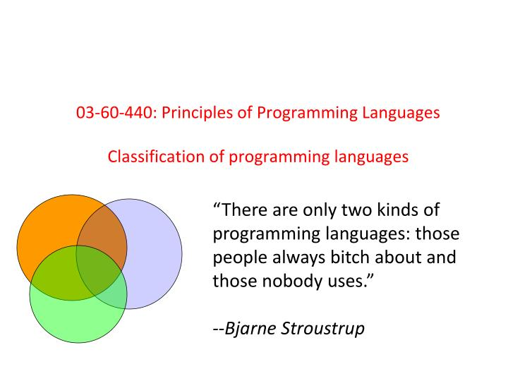 03 60 440 principles of programming languages classification of programming languages n.