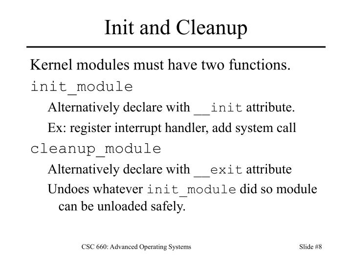 Init and Cleanup