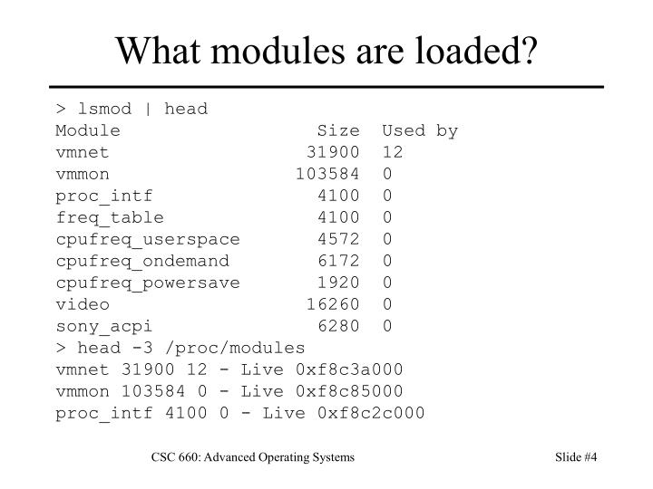 What modules are loaded?