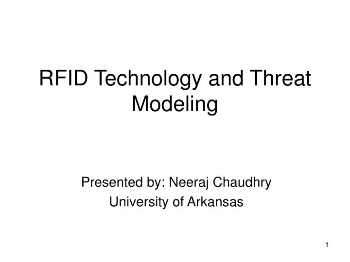 rfid technology and threat modeling n.