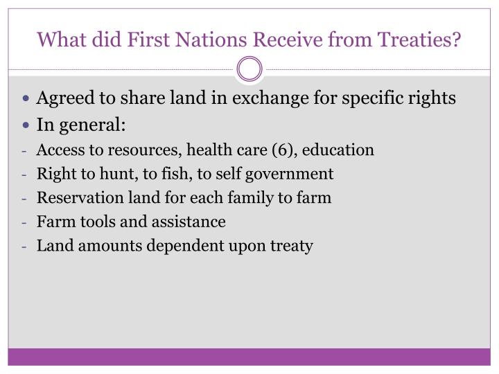What did First Nations Receive from Treaties?