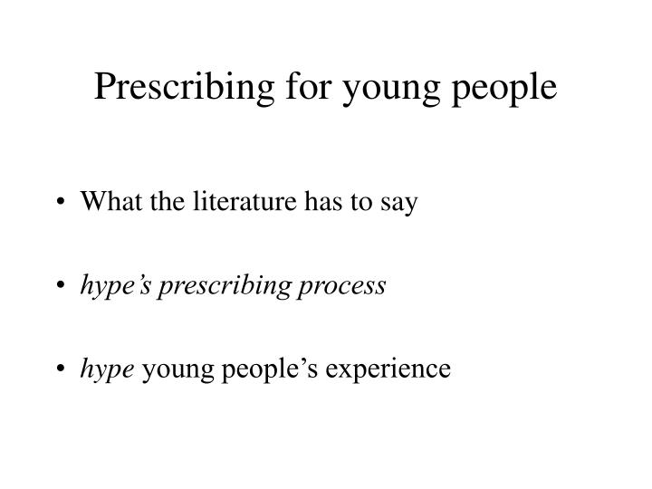 prescribing for young people n.