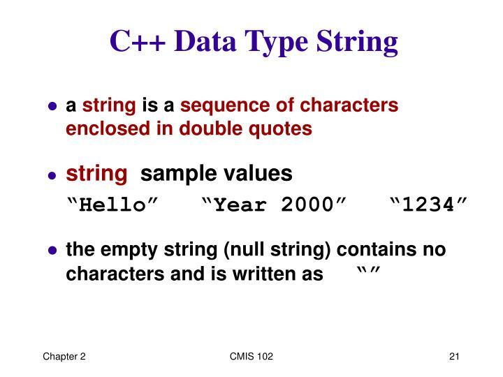 C++ Data Type String