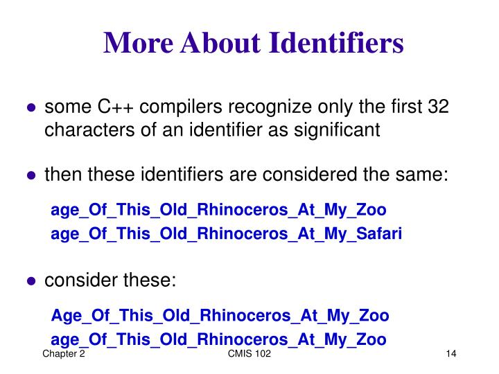 More About Identifiers
