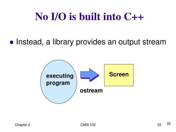 No I/O is built into C++