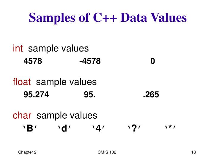 Samples of C++ Data Values