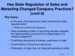 has state regulation of sales and marketing changed company practices cont d1