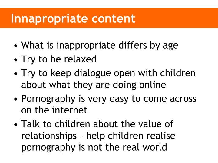 Innapropriate content