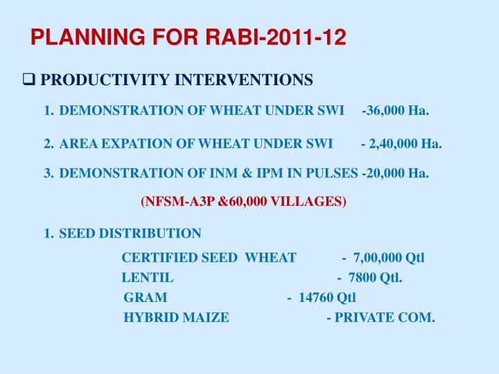 PLANNING FOR RABI-2011-12