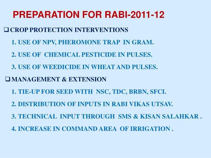 PREPARATION FOR RABI-2011-12
