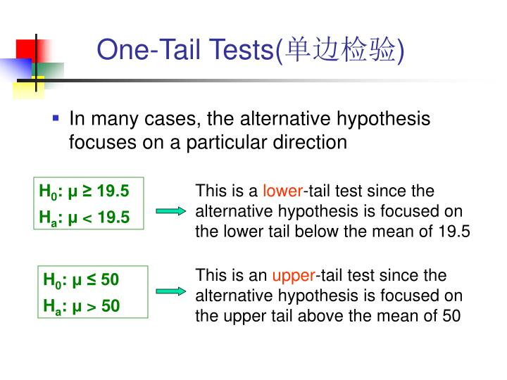 One-Tail Tests(