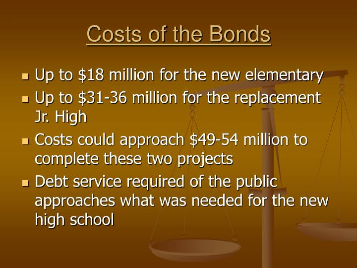 Costs of the Bonds