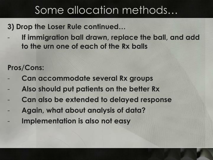 Some allocation methods…