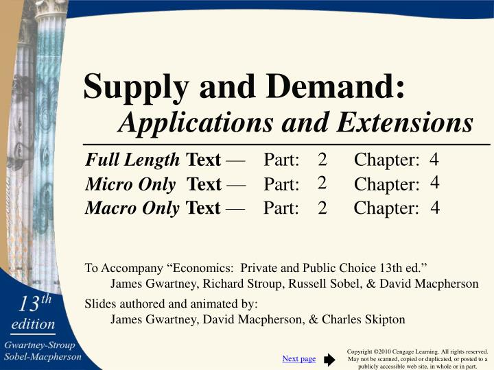 supply and demand applications and extensions