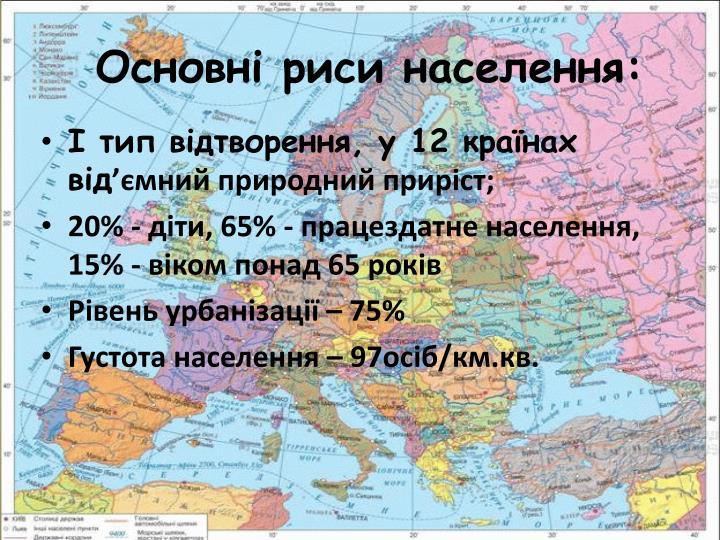 Основні риси населення: