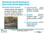 massively social gaming as new grid cloud application