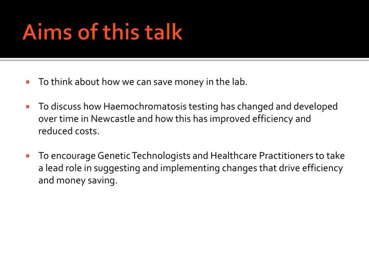 Aims of this talk