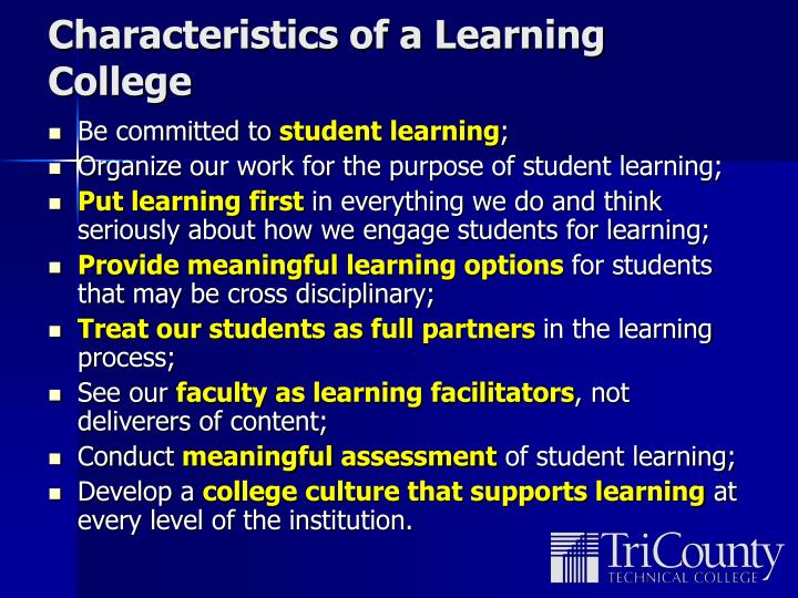 Characteristics of a Learning College