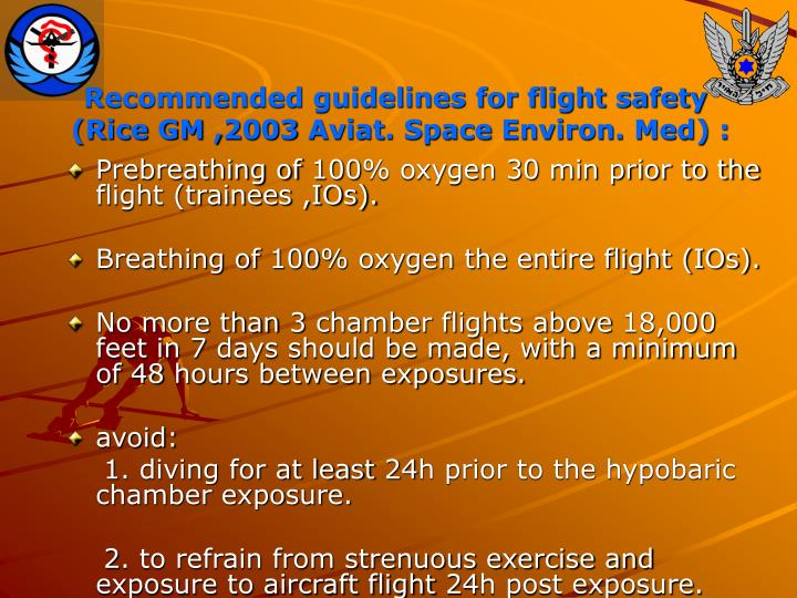 Recommended guidelines for flight safety