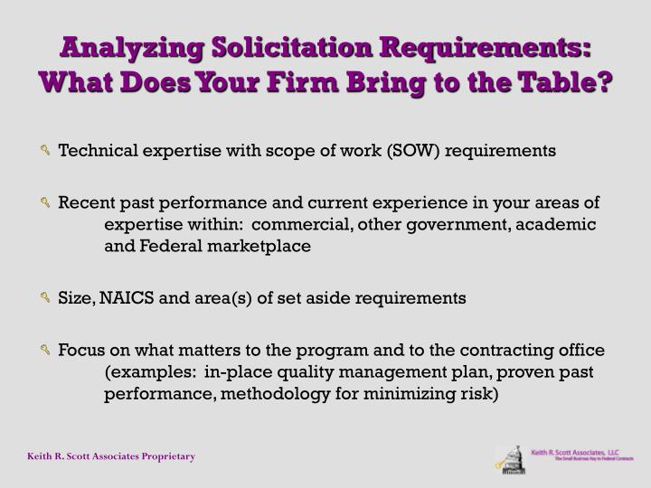 Analyzing Solicitation Requirements: