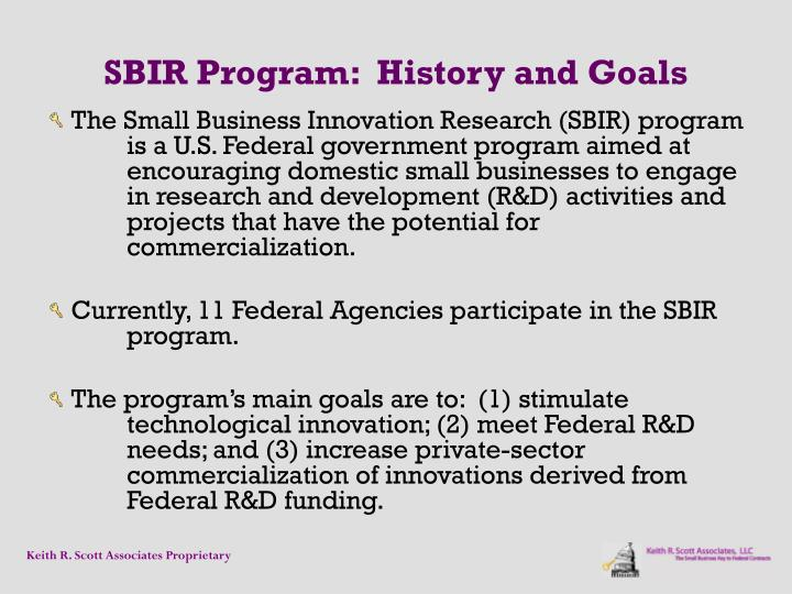 SBIR Program:  History and Goals