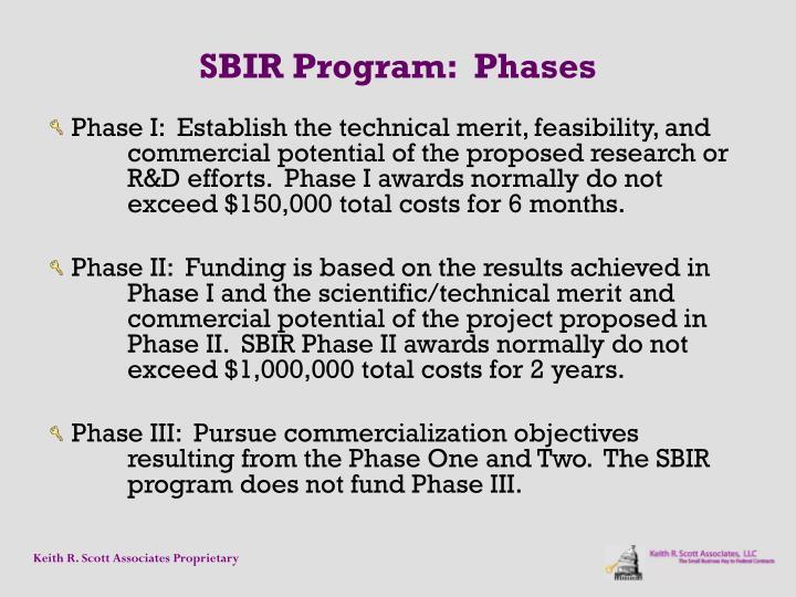 SBIR Program:  Phases