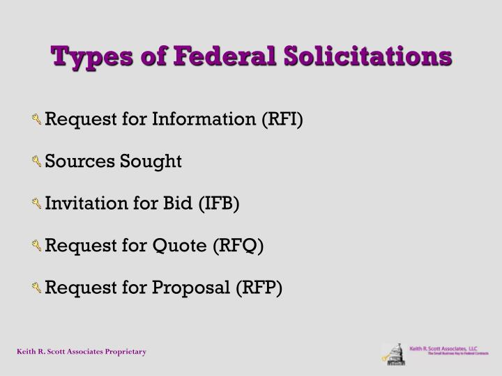 Types of Federal Solicitations