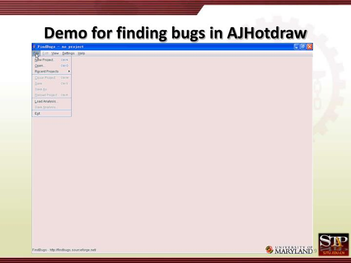 Demo for finding bugs in AJHotdraw