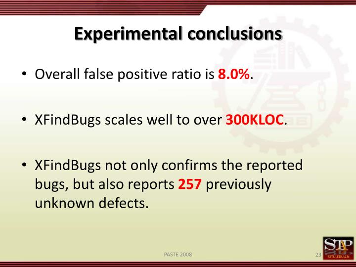Experimental conclusions