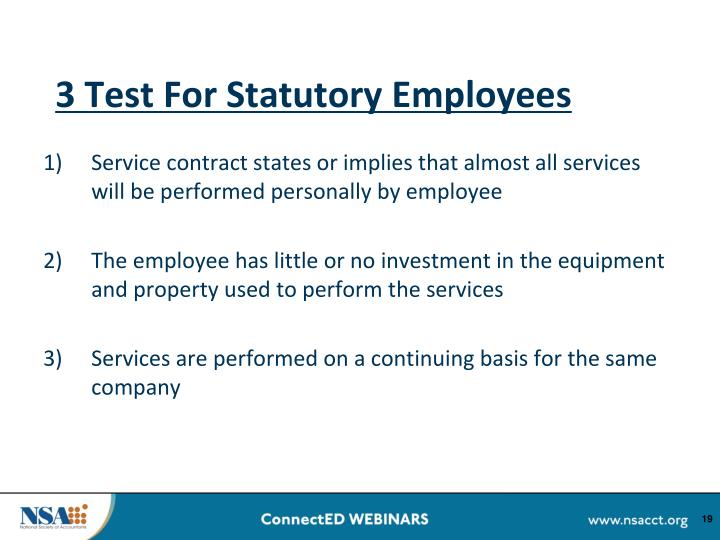 3 Test For Statutory Employees