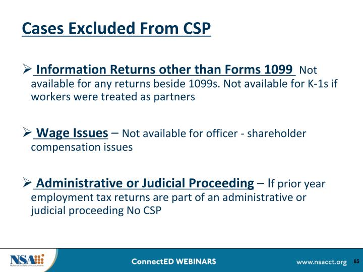 Cases Excluded From CSP