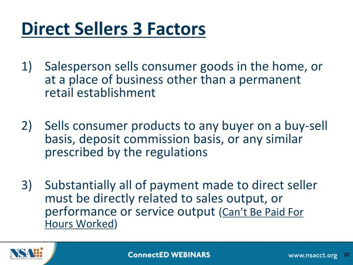 Direct Sellers 3 Factors