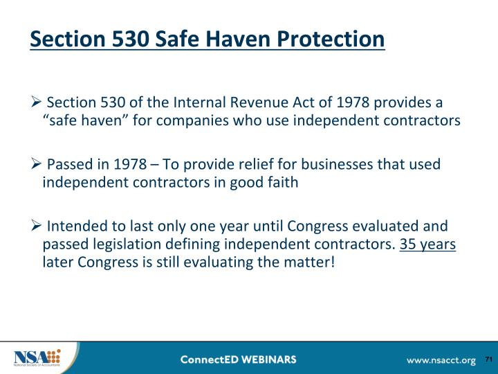 Section 530 Safe Haven Protection
