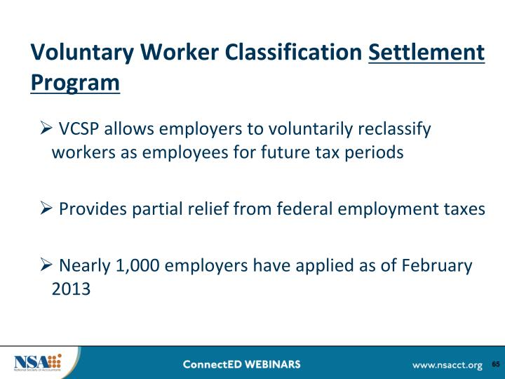Voluntary Worker Classification