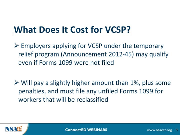 What Does It Cost for VCSP?