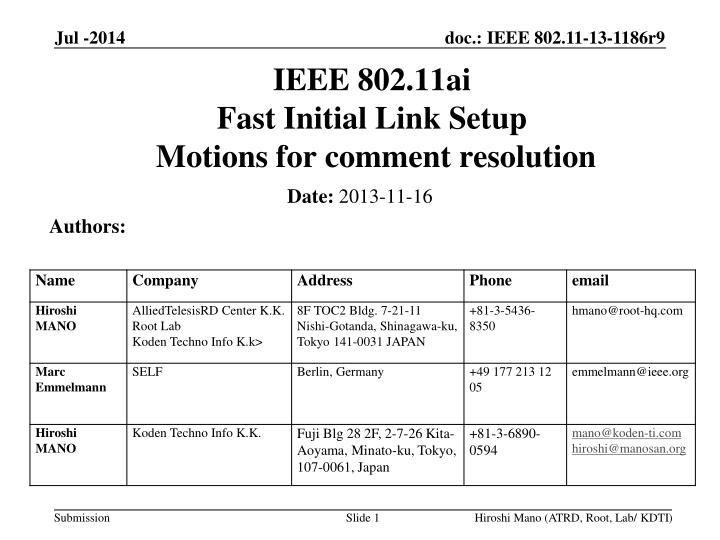 ieee 802 11ai fast initial link setup motions for comment resolution n.
