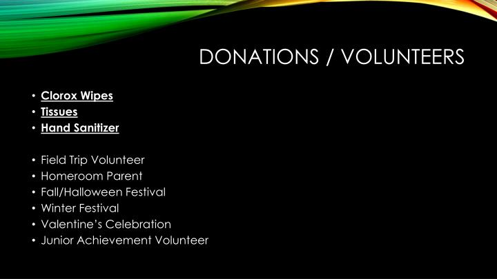 Donations / volunteers