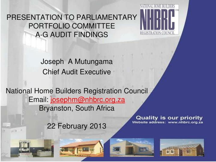presentation to parliamentary portfolio committee a g audit findings n.