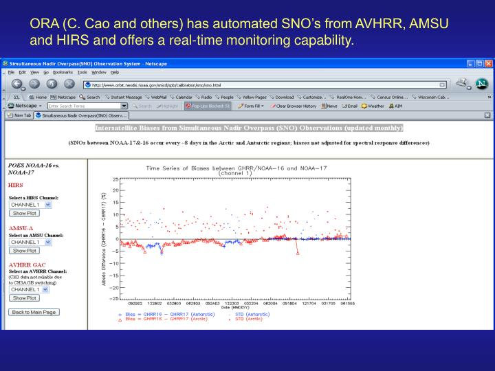 ORA (C. Cao and others) has automated SNO's from AVHRR, AMSU and HIRS and offers a real-time monitoring capability.