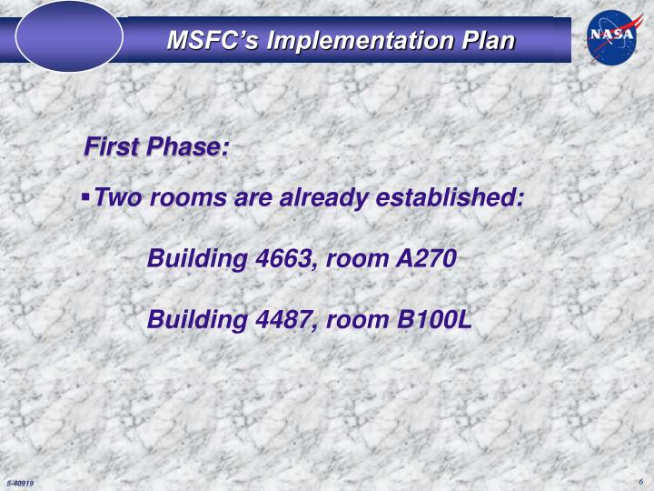 MSFC's Implementation Plan