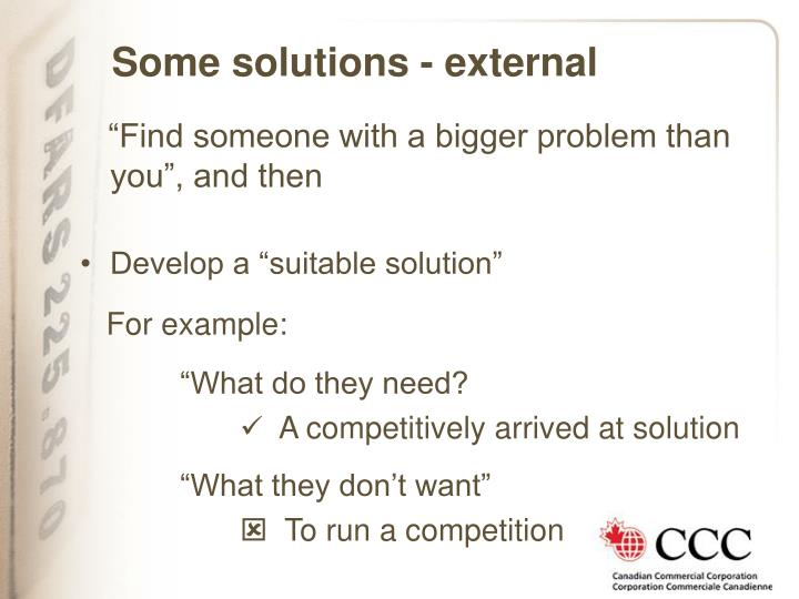 Some solutions - external