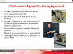 1 performance against purchasing agreement